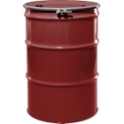 """55 Gallon Mobil Red Steel Drum, Reconditioned, UN-Rated, Unlined, Cover w/Bolt Ring, 2"""" & 3/4"""" Fittings"""