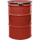 """55 Gallon Red Orange Steel Drum, Reconditioned, UN-Rated, Unlined, Cover w/Bolt Ring, 2"""" & 3/4"""" Fittings"""
