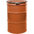 """55 Gallon Sun Orange Steel Drum, Reconditioned, UN-Rated, Unlined, Cover w/Bolt Ring, 2"""" & 3/4"""" Fittings"""