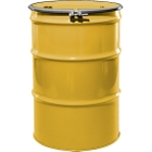 """55 Gallon Center Line Yellow Steel Drum, Reconditioned, UN-Rated, Unlined, Cover w/Bolt Ring, 2"""" & 3/4"""" Fittings"""