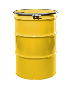 """55 Gallon Shell Yellow Steel Drum, Reconditioned, UN-Rated, Unlined, Cover w/Bolt Ring, 2"""" & 3/4"""" Fittings"""