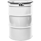 """55 Gallon White Steel Drum, Reconditioned, UN-Rated, Unlined, Cover w/Bolt Ring, 2"""" & 3/4"""" Fittings"""