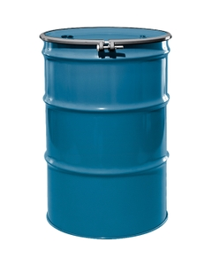 """55 Gallon Ashland Blue Steel Drum, Reconditioned, UN-Rated, Lined, Cover w/Bolt Ring, 2"""" & 3/4"""" Fittings"""