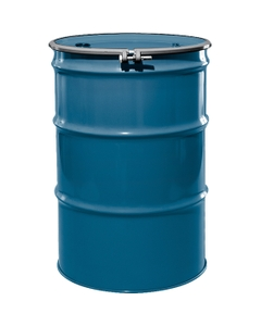 """55 Gallon Chevron Blue Steel Drum, Reconditioned, UN-Rated, Lined, Cover w/Bolt Ring, 2"""" & 3/4"""" Fittings"""