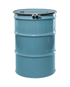 """55 Gallon Light Blue Steel Drum, Reconditioned, UN-Rated, Lined, Cover w/Bolt Ring, 2"""" & 3/4"""" Fittings"""