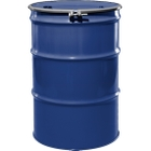 """55 Gallon McWhorter Blue Steel Drum, Reconditioned, UN-Rated, Lined, Cover w/Bolt Ring, 2"""" & 3/4"""" Fittings"""