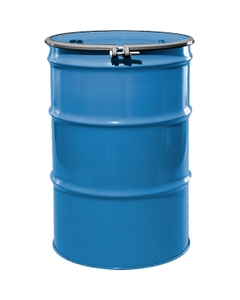 """55 Gallon PPG Blue Steel Drum, Reconditioned, UN-Rated, Lined, Cover w/Bolt Ring, 2"""" & 3/4"""" Fittings"""