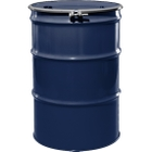 """55 Gallon Valvoline Blue Steel Drum, Reconditioned, UN-Rated, Lined, Cover w/Bolt Ring, 2"""" & 3/4"""" Fittings"""