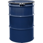 """55 Gallon Waste Blue Steel Drum, Reconditioned, UN-Rated, Lined, Cover w/Bolt Ring, 2"""" & 3/4"""" Fittings"""