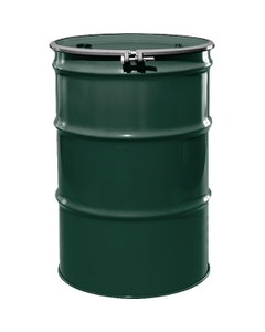 """55 Gallon National Starch Green Steel Drum, Reconditioned, UN-Rated, Lined, Cover w/Bolt Ring, 2"""" & 3/4"""" Fittings"""