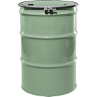 """55 Gallon Superior Green Steel Drum, Reconditioned, UN-Rated, Lined, Cover w/Bolt Ring, 2"""" & 3/4"""" Fittings"""