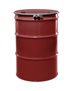 """55 Gallon Mobil Red Steel Drum, Reconditioned, UN-Rated, Lined, Cover w/Bolt Ring, 2"""" & 3/4"""" Fittings"""