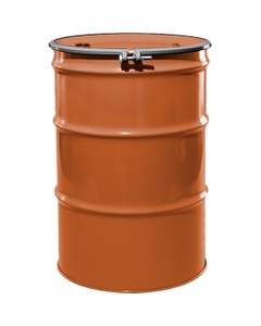 """55 Gallon Sun Orange Steel Drum, Reconditioned, UN-Rated, Lined, Cover w/Bolt Ring, 2"""" & 3/4"""" Fittings"""