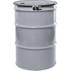 """55 Gallon Silver Steel Drum, Reconditioned, UN-Rated, Lined, Cover w/Bolt Ring, 2"""" & 3/4"""" Fittings"""