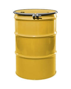 """55 Gallon Center Line Yellow Steel Drum, Reconditioned, UN-Rated, Lined, Cover w/Bolt Ring, 2"""" & 3/4"""" Fittings"""