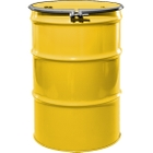 """55 Gallon Shell Yellow Steel Drum, Reconditioned, UN-Rated, Lined, Cover w/Bolt Ring, 2"""" & 3/4"""" Fittings"""