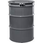 """55 Gallon Durkee Gray Steel Drum, Reconditioned, UN-Rated, Lined, Cover w/Bolt Ring, 2"""" & 3/4"""" Fittings"""