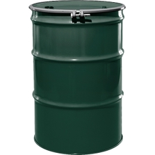 """55 Gallon National Starch Green Steel Drum, Reconditioned, UN-Rated, Unlined, Cover w/Bolt Ring, 2"""" & 3/4"""" Fittings"""