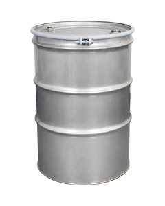85 Gallon Stainless Steel Drum, UN Rated, Cover w/Bolt Ring Closure, 2 & 3/4 Fittings