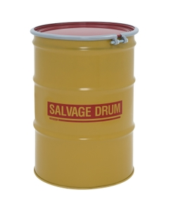 55 Gallon Steel Salvage Drum, Cover w/Bolt Ring Closure (16/16 Gauge)