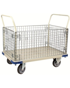 """30"""" x 48"""" Wire Caged Steel Platform Truck, 1,110 lb. Capacity"""