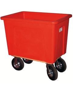 """128 Gallon (16 Bushel) Red Plastic Box Truck, 8"""" Casters, 600 lb. Capacity"""
