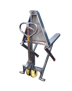 """Stainless Steel Manual Telescoping High Lift Pallet Jack, 27"""" x 46"""" (2,200 lbs.)"""