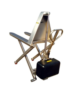 """Stainless Steel Electric Telescoping High Lift Pallet Jack, 27"""" x 46"""" (2,200 lbs.)"""