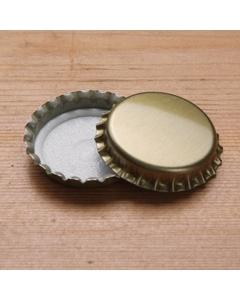 Gold Beer Bottle Caps, 29 mm Crown Pry-Off, 100/pk