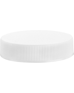 45mm 45-400 White Ribbed (Matte Top) Plastic Cap w/HIS Liner for HDPE