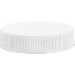 45mm 45-400 White Ribbed (Matte Top) Plastic Cap w/HIS Foil Liner