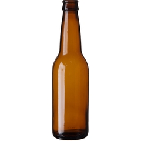 12 oz. (355 ml) Amber Glass Long Neck Beer Bottle, Crown Pry-Off, 26-611 (Bulk Pack)