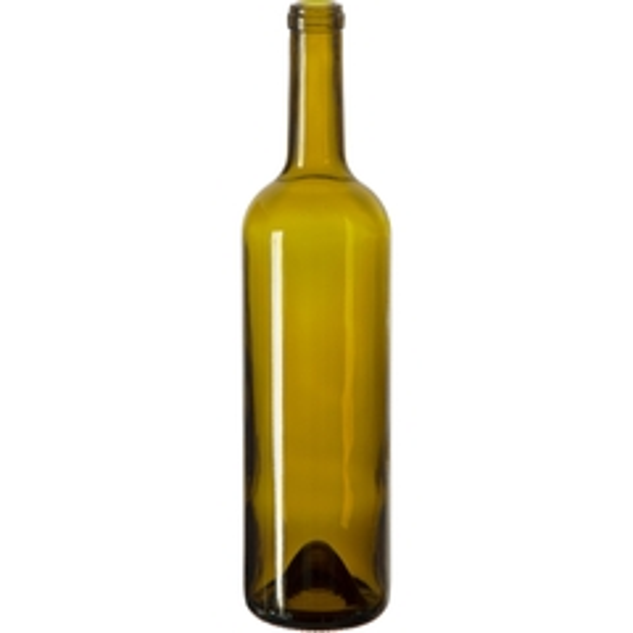 750 ml Antique Green Bordeaux Wine Bottles, Punted Bottom, Cork, 12/cs (heavy)