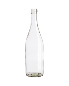 750 ml Clear Burgundy Wine Bottles, Cork, 12/cs