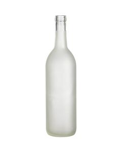 750 ml Clear Frosted Bordeaux Wine Bottles, Cork, 12/cs