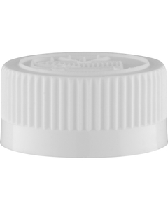 28mm 28-400 White Child Resistant Cap (Pictorial) w/HIS Liner for PET/PVC