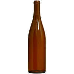 750 ml Amber California Hock Wine Bottles, Cork 12/cs