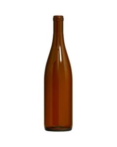 750 ml Amber California Hock Wine Bottles, Cork, 12/cs