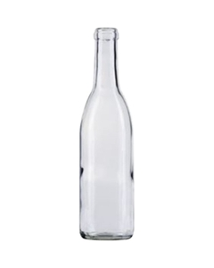 375 ml Clear Burgundy Wine Bottles, Cork, 24/cs