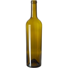 750 ml Antique Green Bordeaux Wine Bottles, Punted Bottom, Taper, Cork, 12/cs