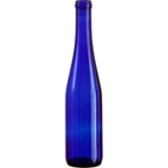 375 ml Cobalt Blue Stretch Hock Wine Bottles, Cork 24/cs