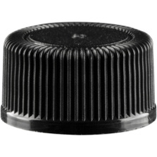 13mm 13-425 Black Ribbed (Matte Top) Plastic Cap w/Foam Liner (3-ply)