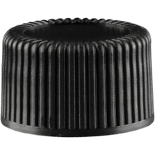 15mm 15-425 Black Ribbed (Matte Top) Plastic Cap w/Foam Liner (3-ply)