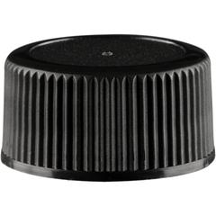 18mm 18-400 Black Ribbed (Matte Top) Plastic Cap w/Foam Liner (3-ply)