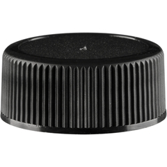 22mm 22-400 Black Ribbed (Matte Top) Plastic Cap w/Foam Liner (3-ply)