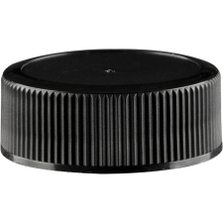 28mm 28-400 Black Ribbed (Matte Top) Plastic Cap w/Foam Liner (3-ply)
