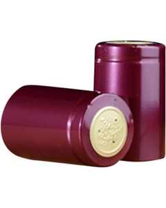 30 x 55mm Burgundy Shiny PVC Capsules w/Tear Tab, 100/pk