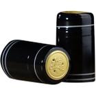 30 x 55mm Black w/Silver Stripes PVC Capsules w/Tear Tab, 500/pk