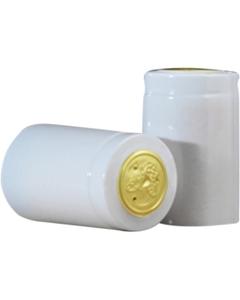 30 x 55mm White Shiny PVC Capsules w/Tear Tab, 100/pk