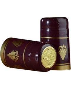 30 x 55mm Burgundy w/Gold Grapes PVC Capsules w/Tear Tab, 100/pk